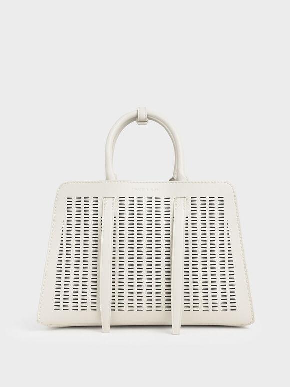 Large Laser-Cut Top Handle bag, Cream, hi-res