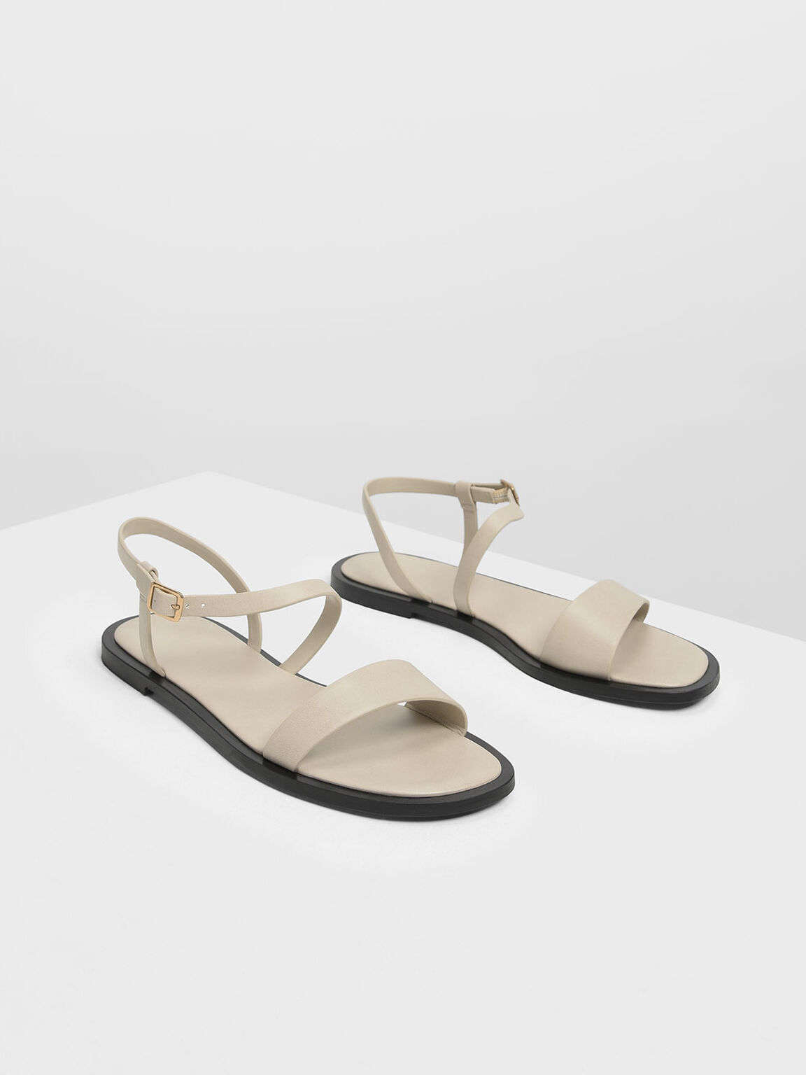 Strappy Open-Toe Sandals, Chalk, hi-res