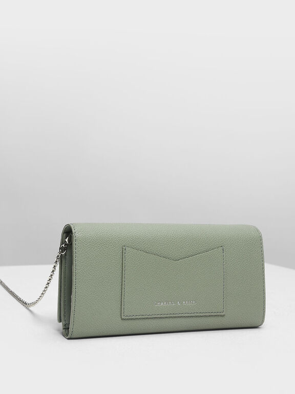 Metallic Accent Long Wallet, Sage Green