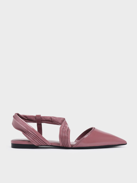 Ruched Strap Covered Flats, Pink