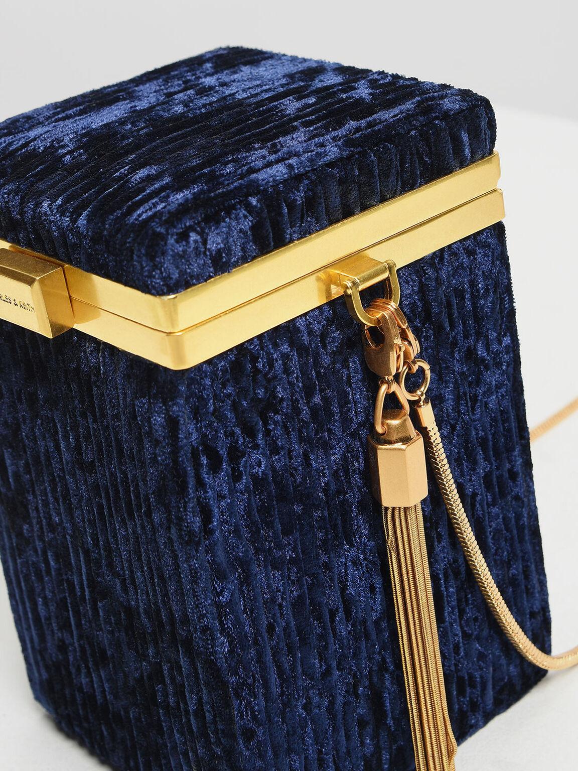 Metallic Tassel Detail Boxy Clutch, Dark Blue, hi-res