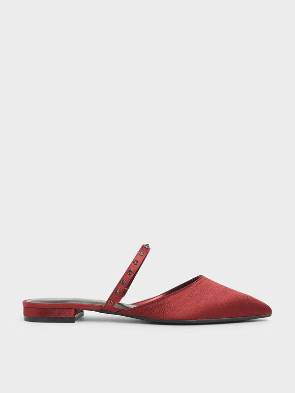 Satin Embellished Strap Flats, Red, hi-res