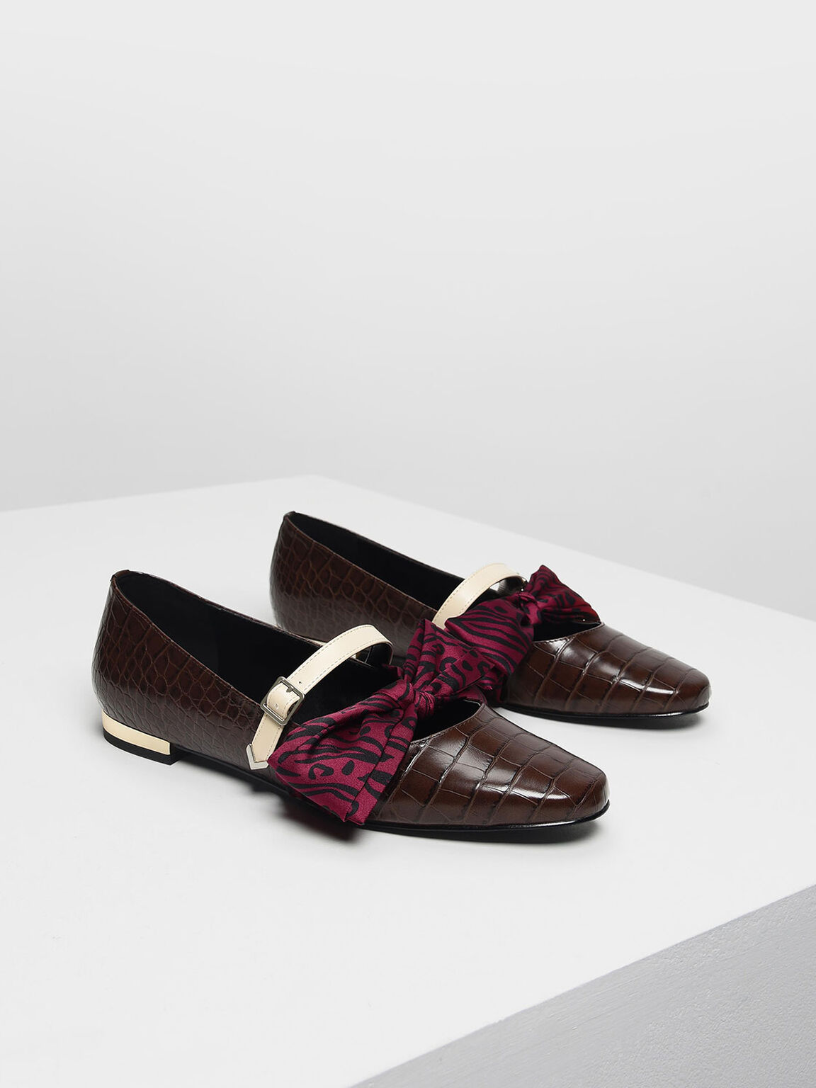 Knotted Bow Mary Jane Flats, Dark Brown, hi-res