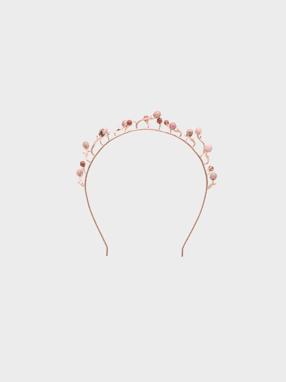 Semi-Precious Stone Headband, Red, hi-res