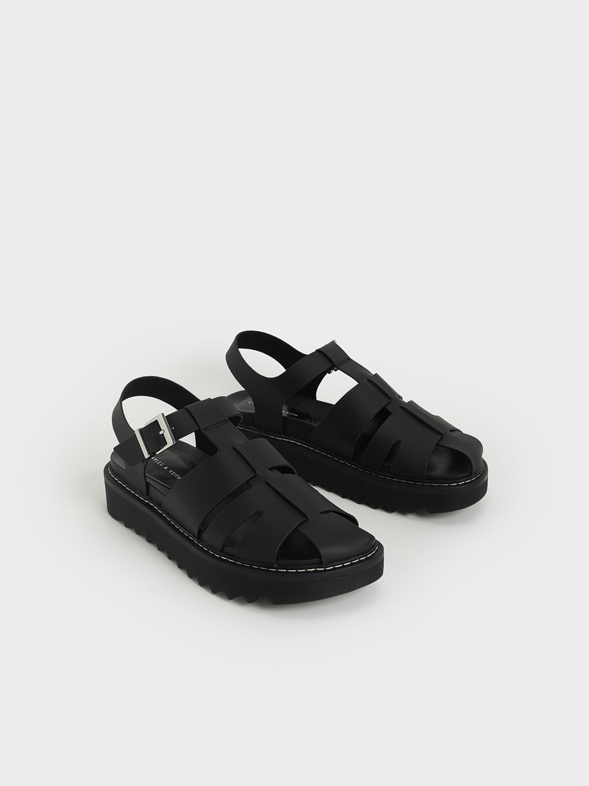 Cut-Out Sports Sandals, Black, hi-res