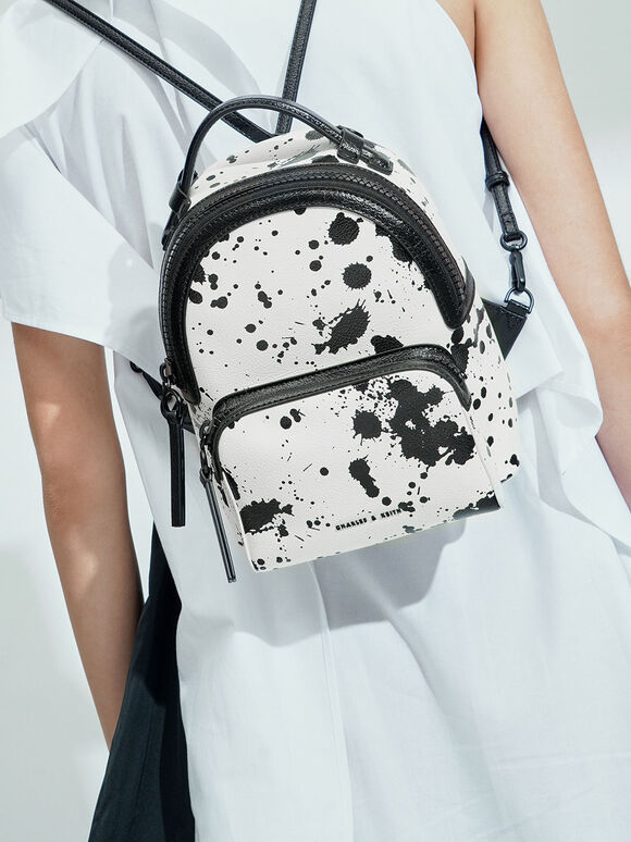 Printed Top Handle Backpack, White, hi-res
