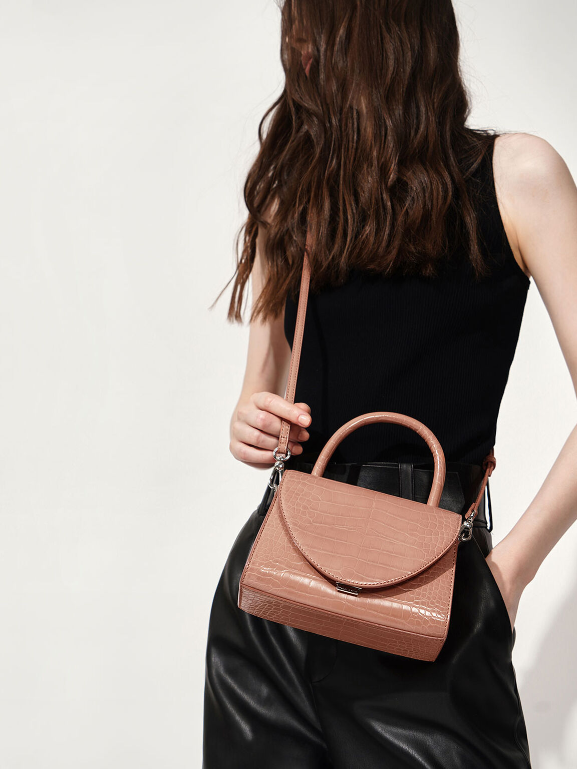 Croc-Effect Structured Top Handle Bag, Peach, hi-res