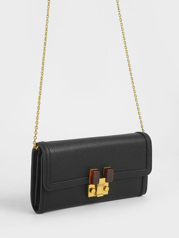 Stone-Embellished Mini Long Wallet, Black, hi-res