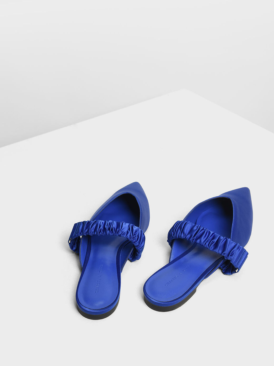 Satin Ruched Band Mules, Blue, hi-res