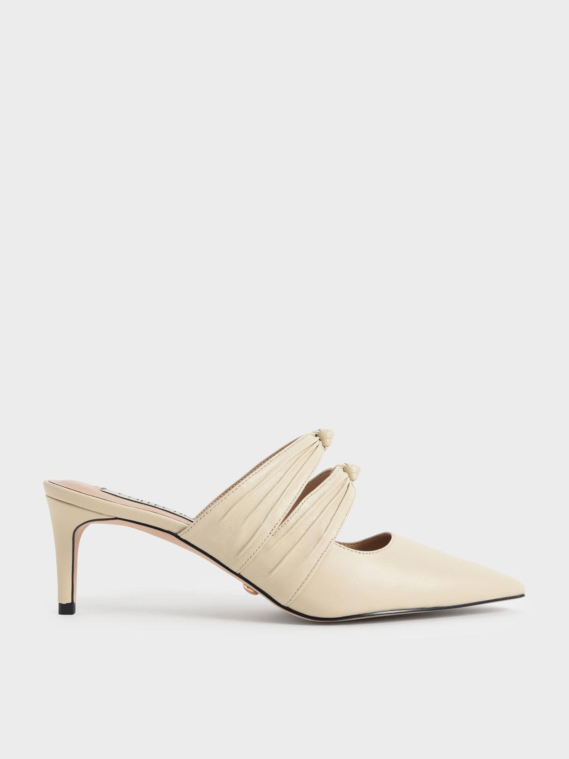 真皮扭結尖頭鞋, 奶油色, hi-res