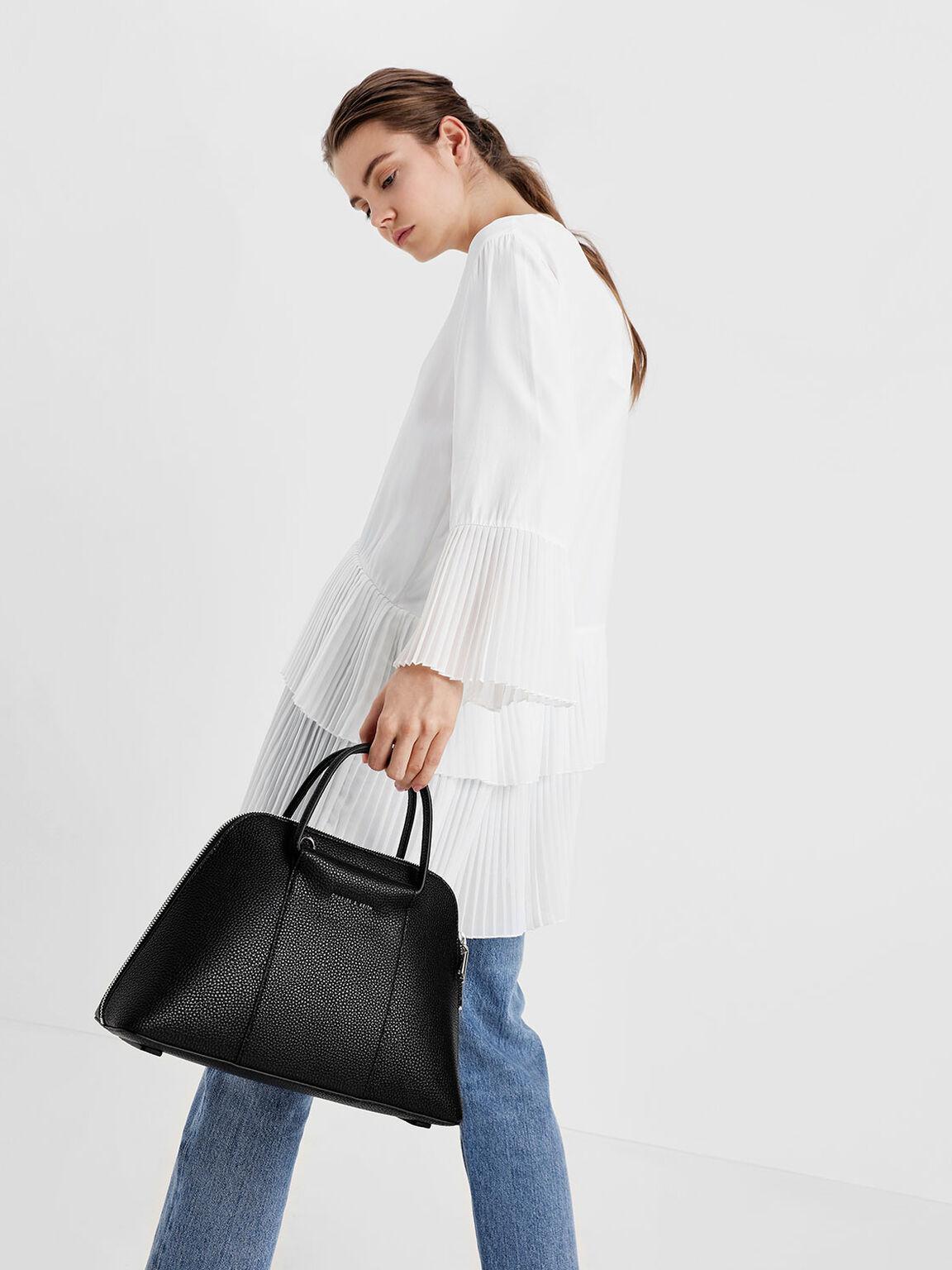 Ring Handle Dome Bag, Black, hi-res
