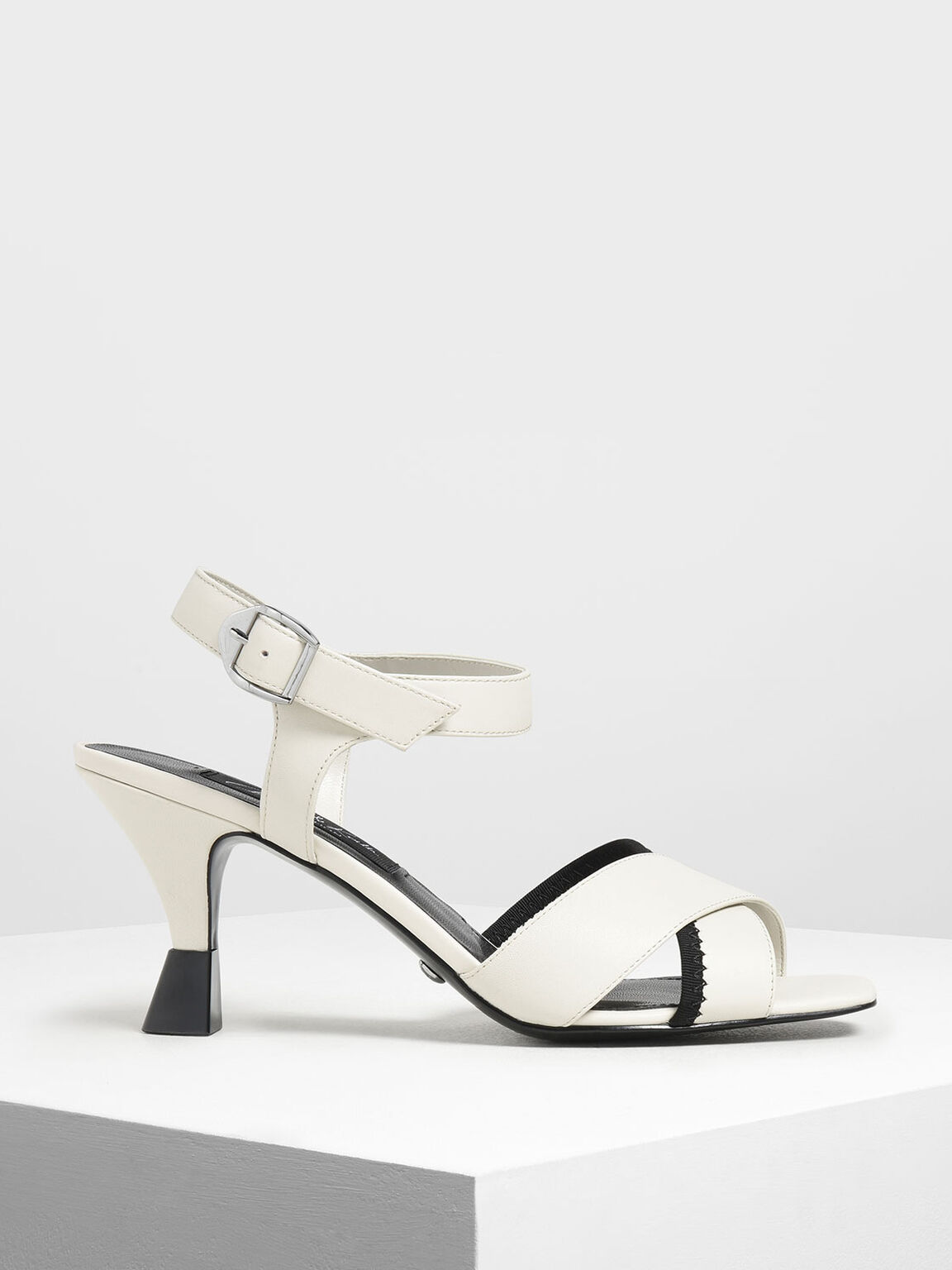 Leather Criss Cross Sculptural Heels, White, hi-res