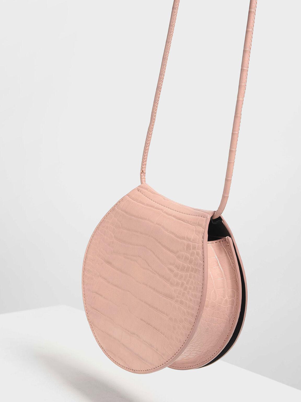 圓型鱷魚紋斜背包, 粉紅色, hi-res
