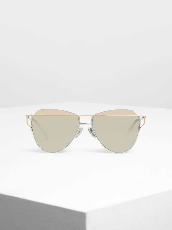 Wire Frame Aviator Sunglasses, Silver, hi-res