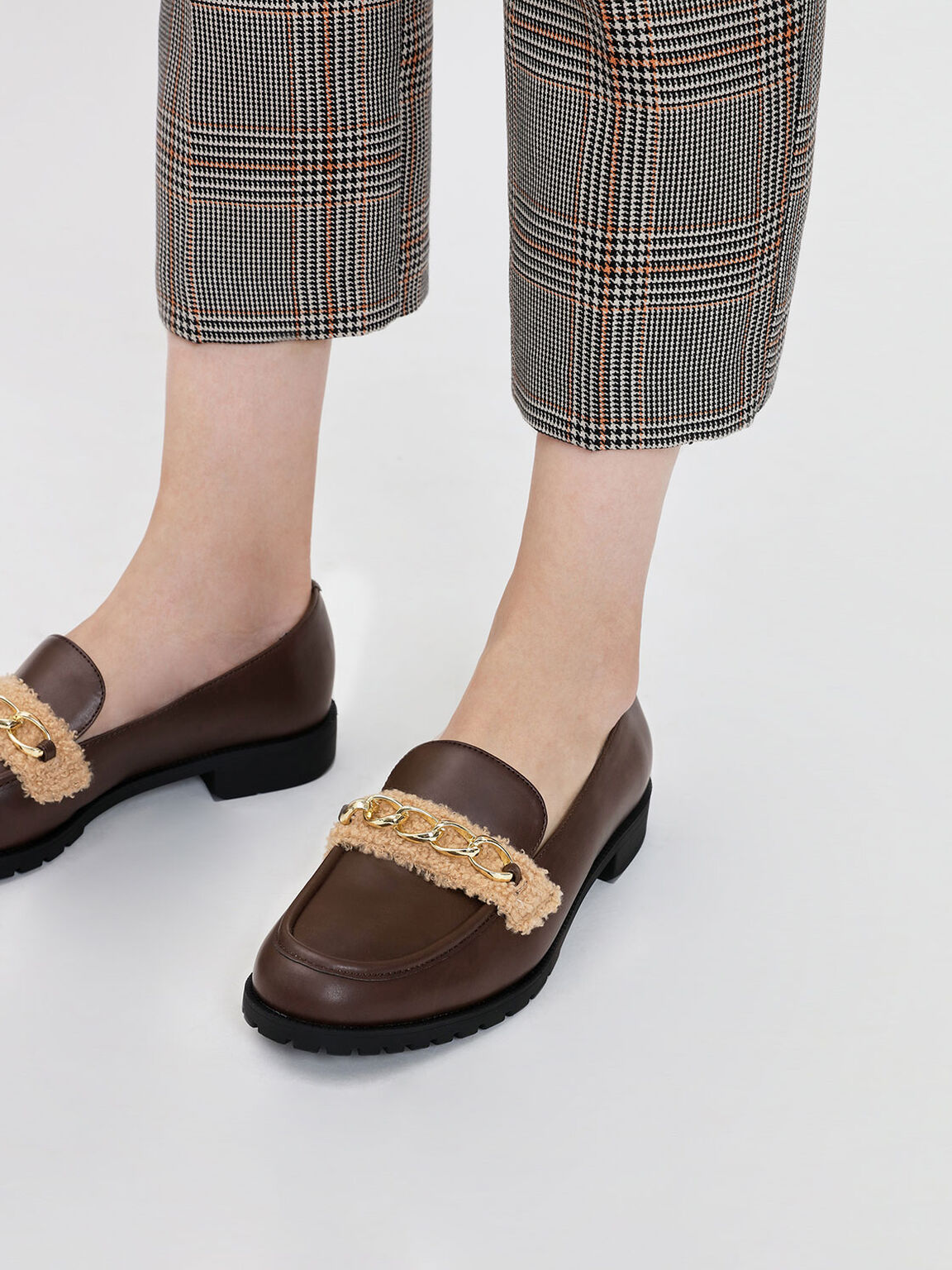 Chain Detail Loafers, Dark Brown, hi-res