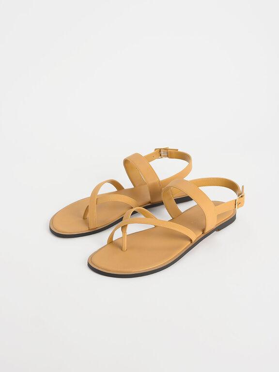 Toe Strap Thong Sandals, Mustard, hi-res