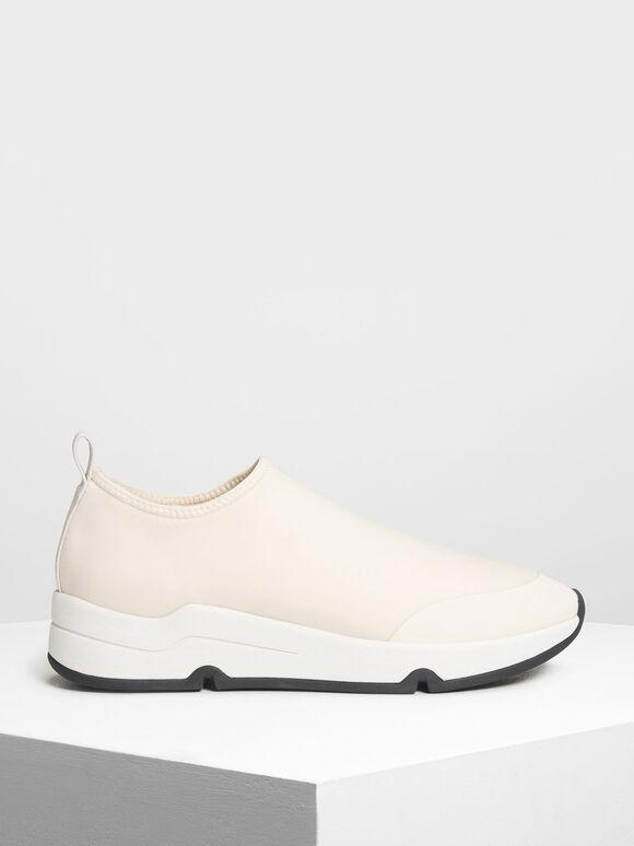 Lycra Slip-On Sneakers, Cream, hi-res