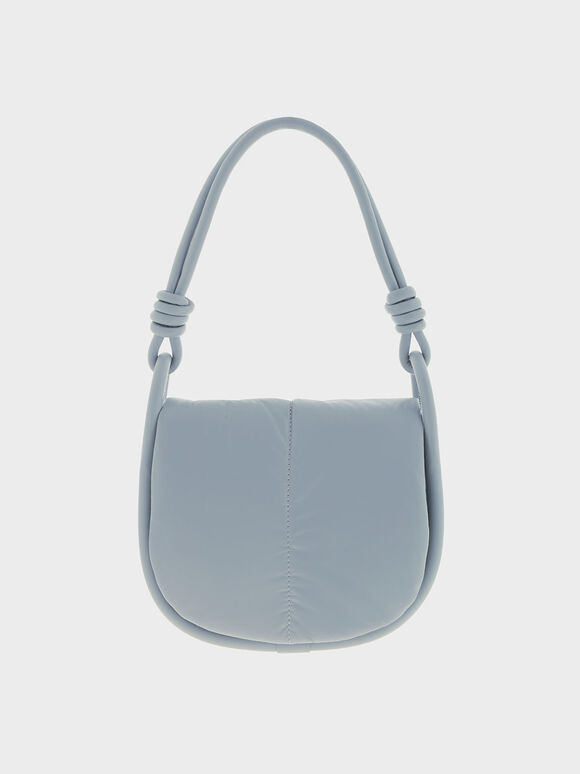 Luna Knotted Handle Shoulder Bag, Steel Blue, hi-res