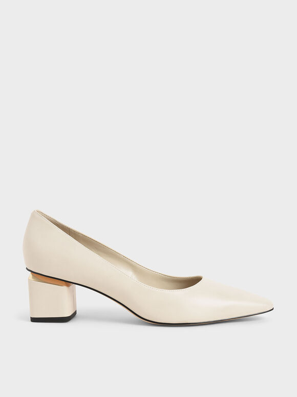 Metallic Heel Pumps, Chalk, hi-res