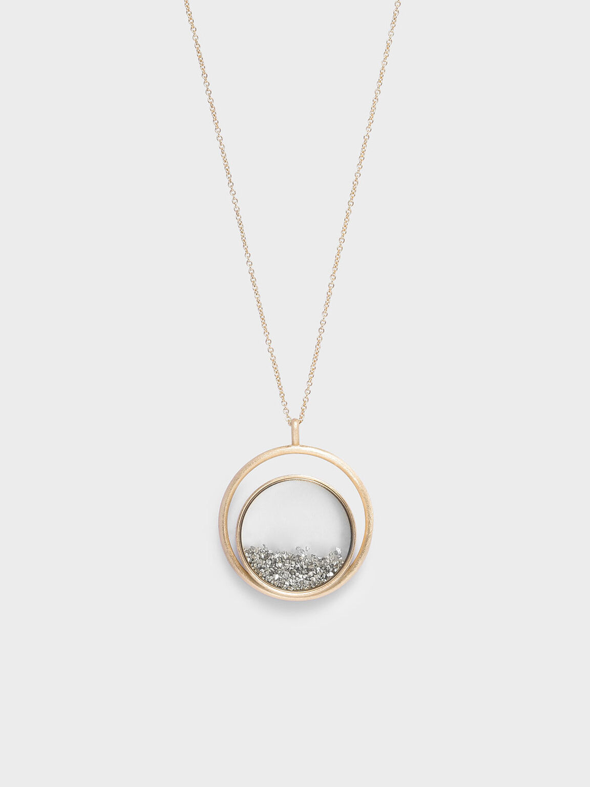 Silver Sparkling Sandstone Floating Locket Matinee Necklace, Gold, hi-res