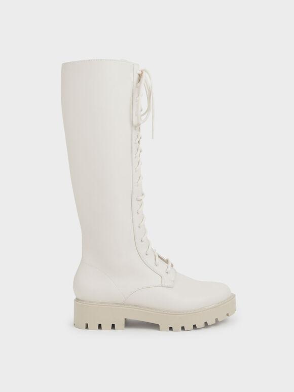 厚底綁帶及膝靴, 石灰白, hi-res