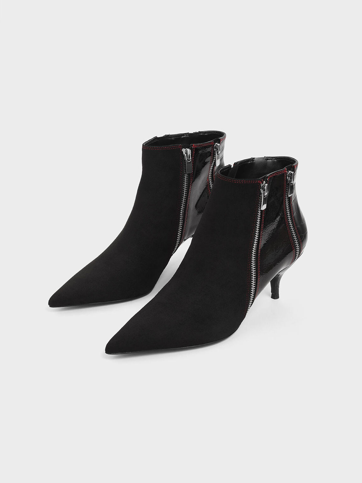 Croc-Effect Wrinkled Patent Zip-Up Kitten Heel Ankle Boots, Black, hi-res