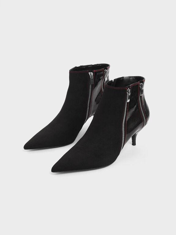 Croc-Effect Wrinkled Patent Zip-Up Kitten Heel Ankle Boots, Black