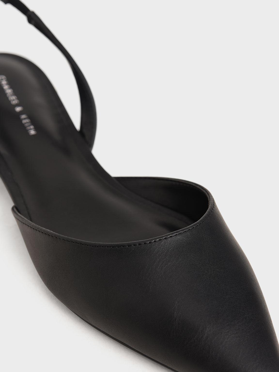 Metallic Heel Slingback Ballerinas, Black, hi-res