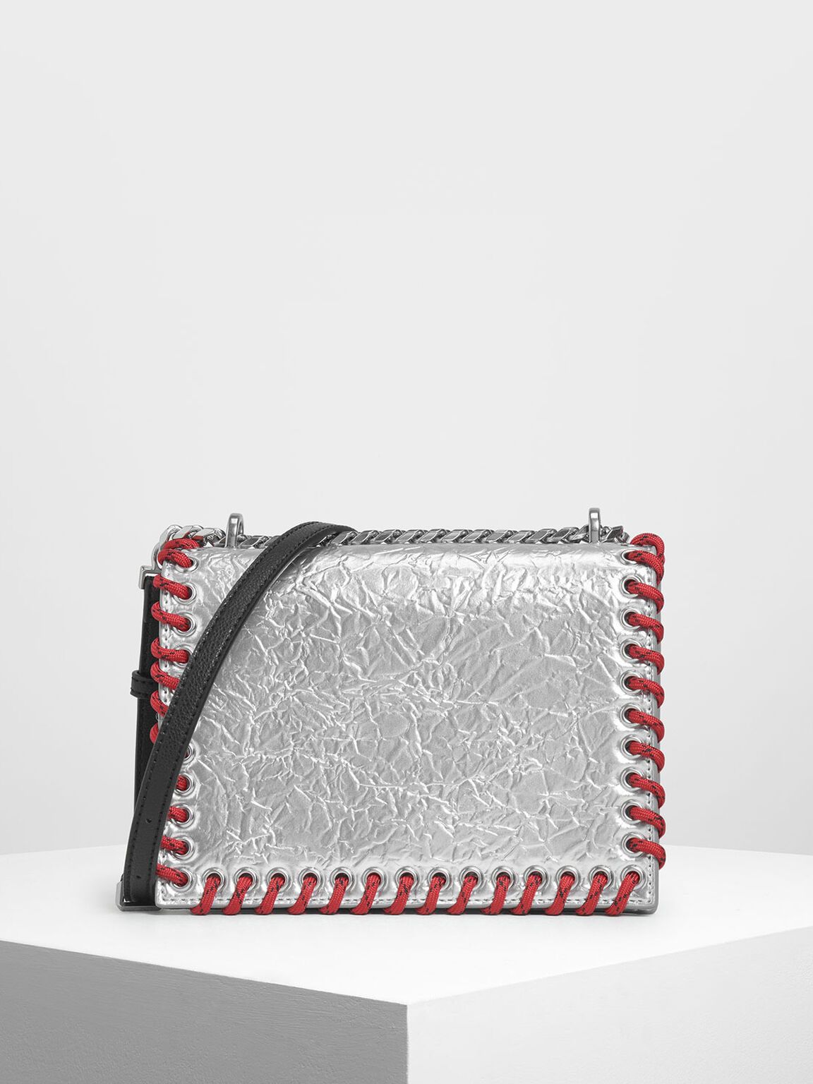 Grommet Accented Crossbody Bag, Silver, hi-res