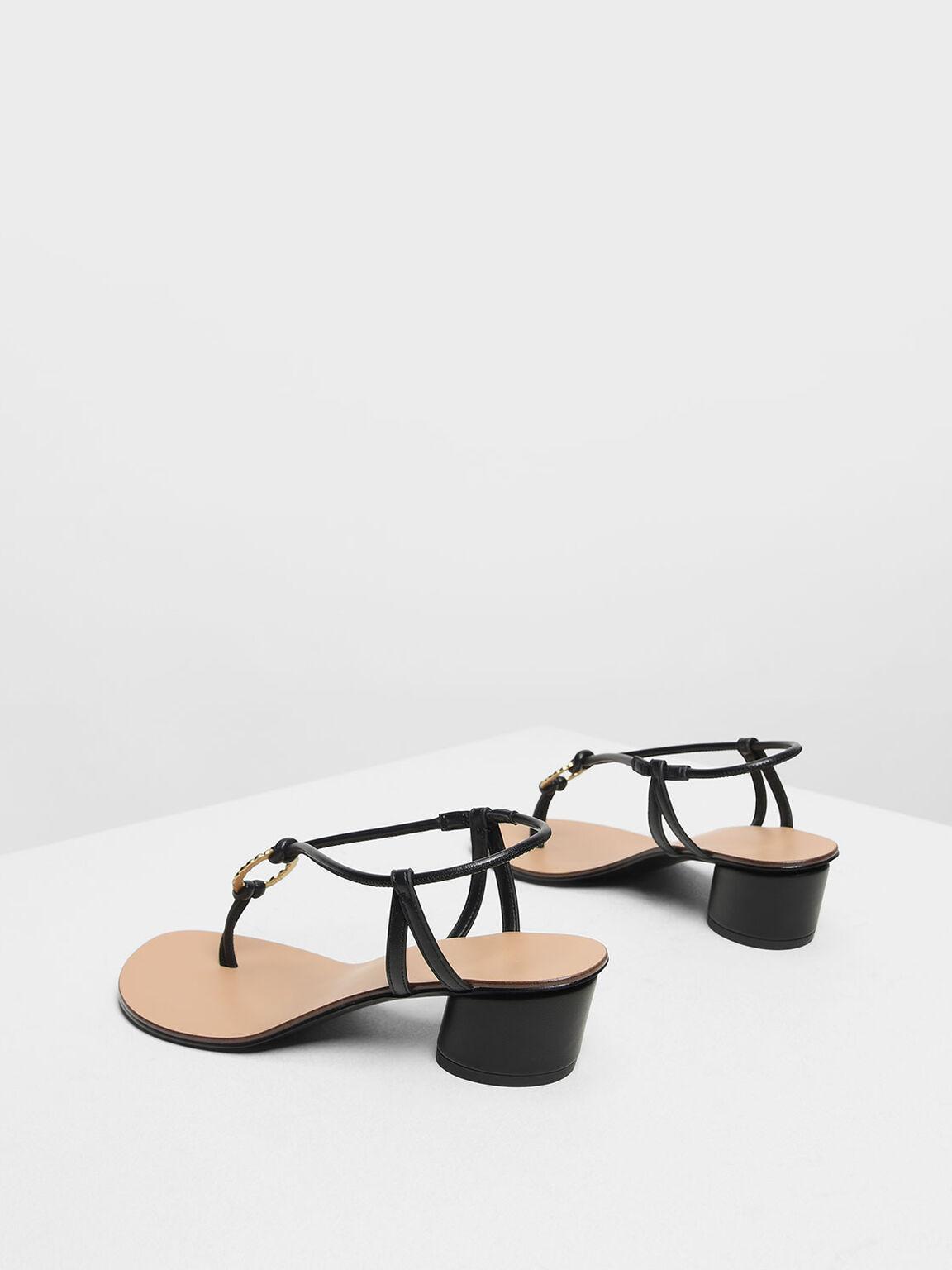 Gold Detail Block Heel Sandals, Black, hi-res