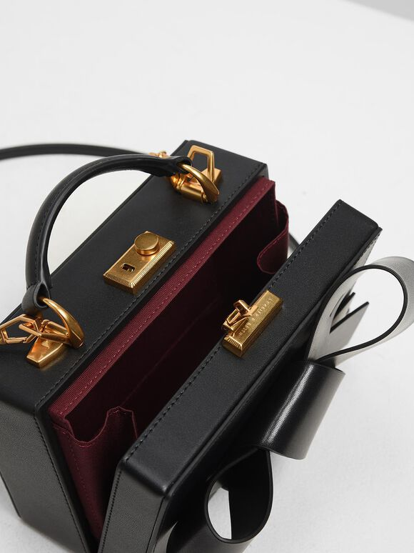 Ribbon Push-lock Bag, Black, hi-res