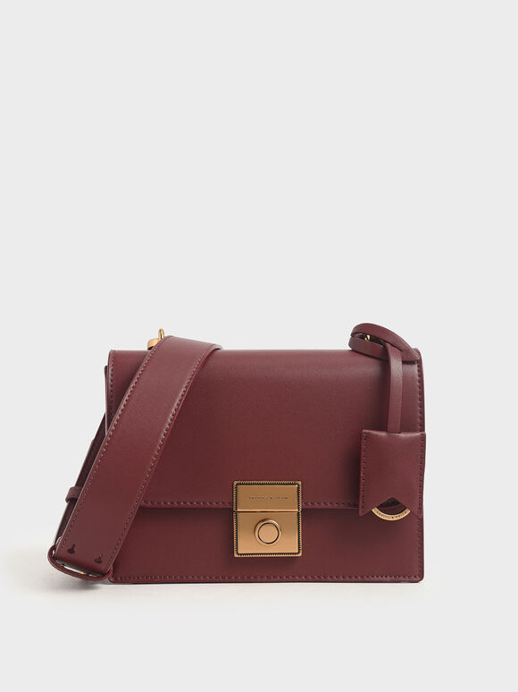 Boxy Push Lock Crossbody Bag, Burgundy, hi-res