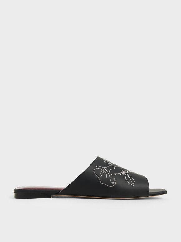 Floral Embroidered Slide Sandals, Black, hi-res