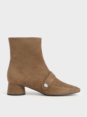 Metallic Accent Textured Ankle Boots, Brown, hi-res