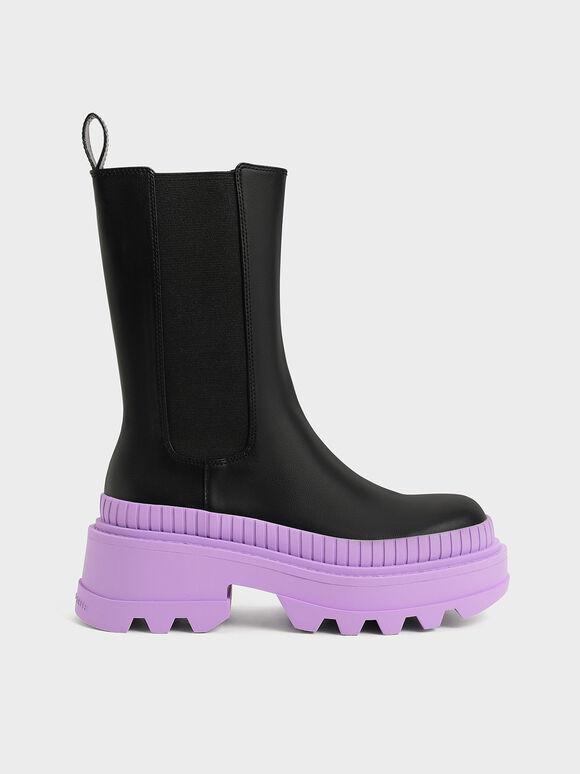 Rhys Coloured Sole Chelsea Boots, Purple, hi-res