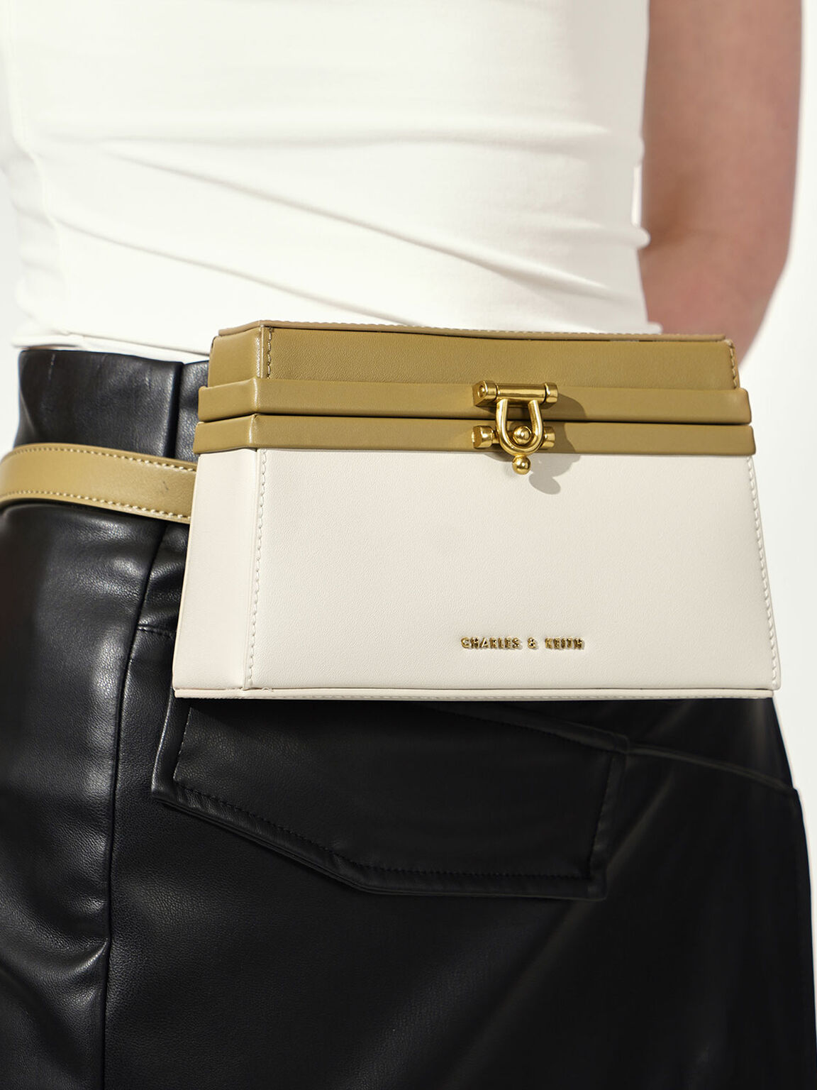Two-Tone Trapeze Belt Bag, Multi, hi-res