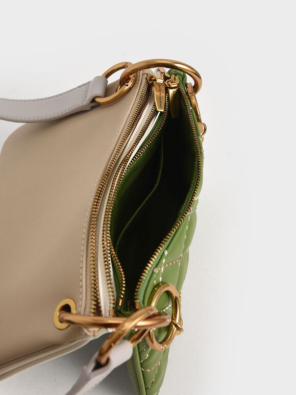 Quilted Metallic Handle Crossbody Bag, Green, hi-res