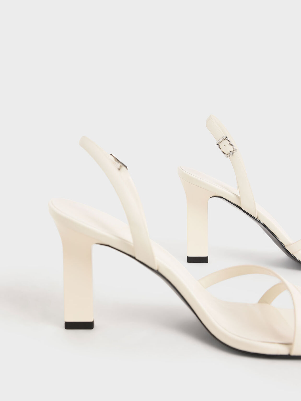 Strappy Blade Heel Slingback Sandals, Chalk, hi-res