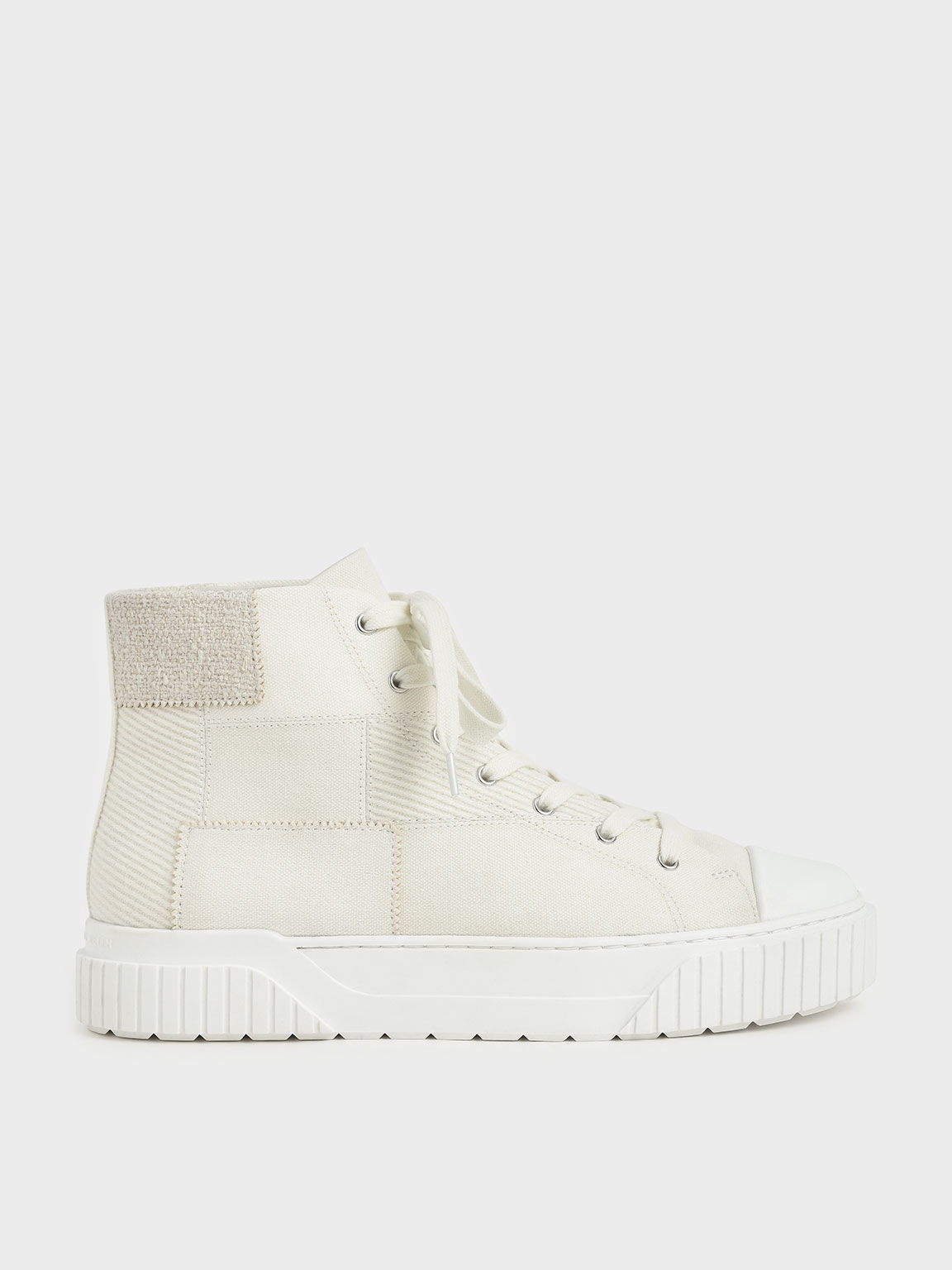 Woven Fabric High Top Sneakers, Chalk, hi-res