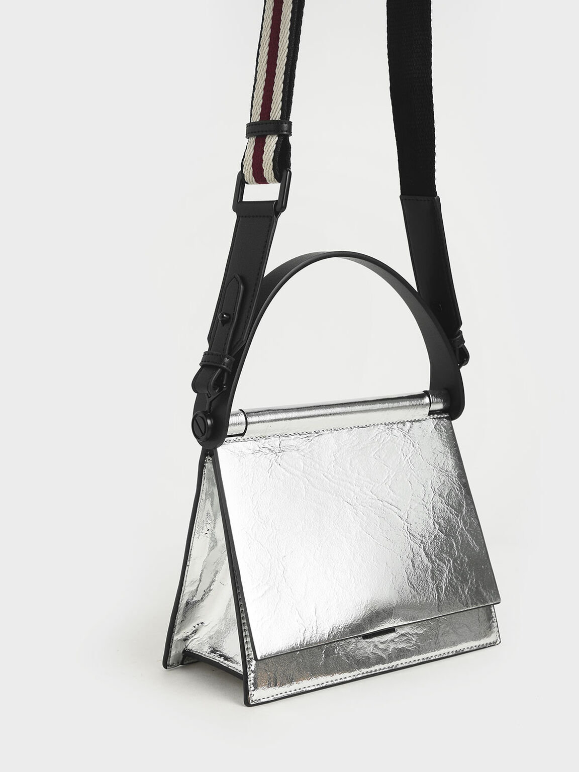 Metallic Sculptural Bag, Silver, hi-res