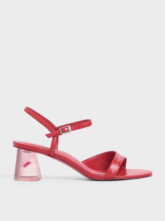 Embroidered Lucite Sculptural Heel Sandals, Red, hi-res