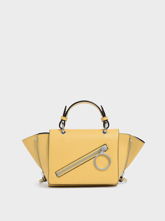 Ring Zip Pocket Trapeze Bag, Yellow, hi-res