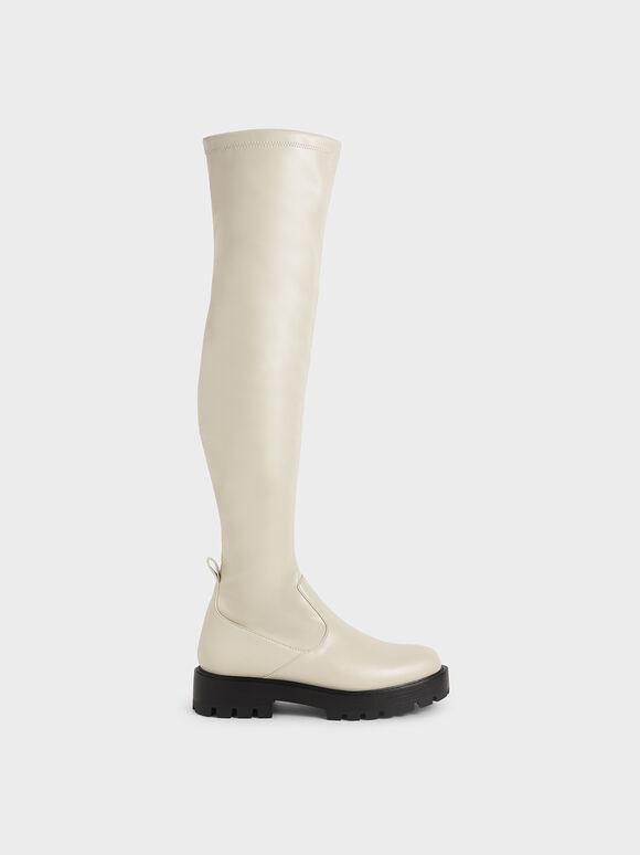 厚底膝上靴, 石灰白, hi-res