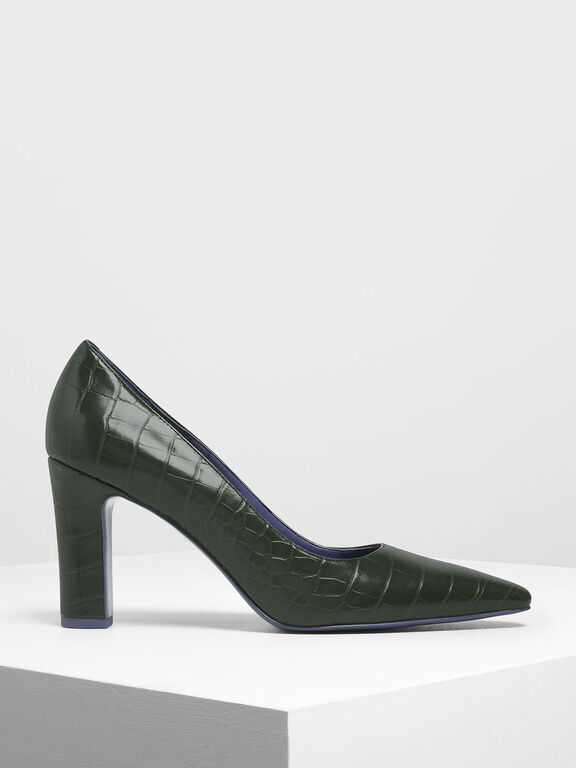 Croc-Effect Pointed Toe Chunky Heel Pumps, Green