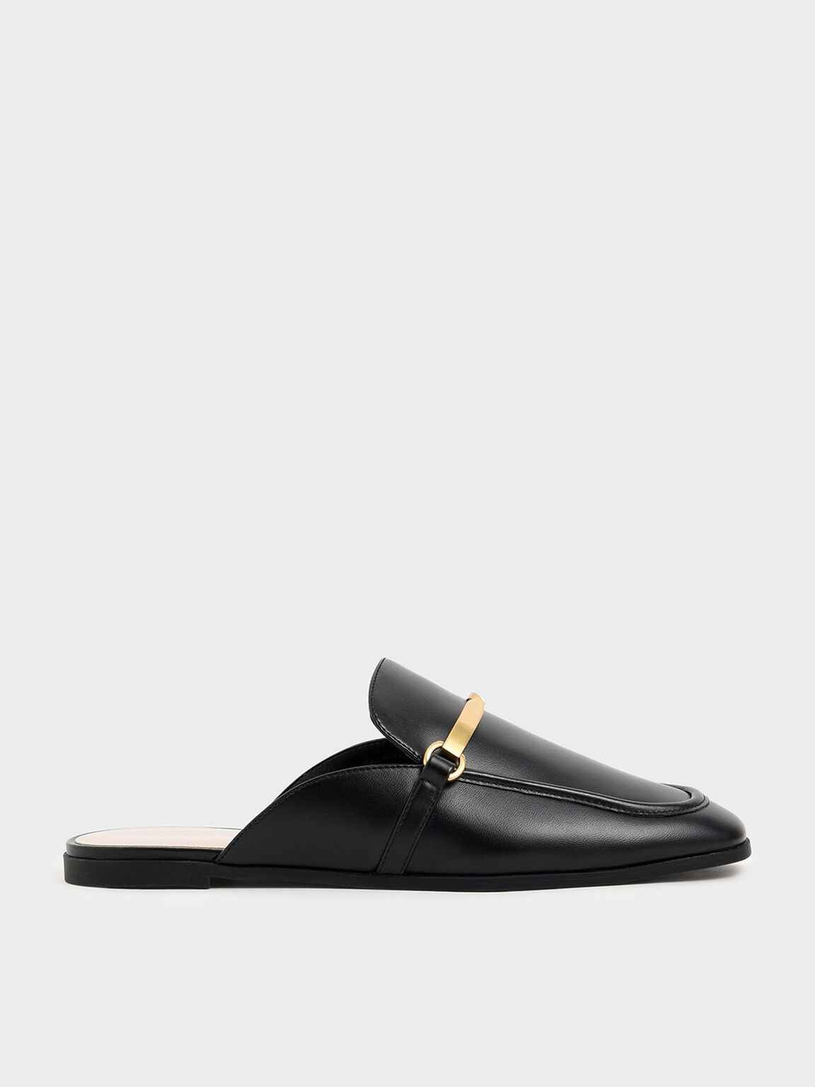 金屬扭結拖鞋, 黑色, hi-res