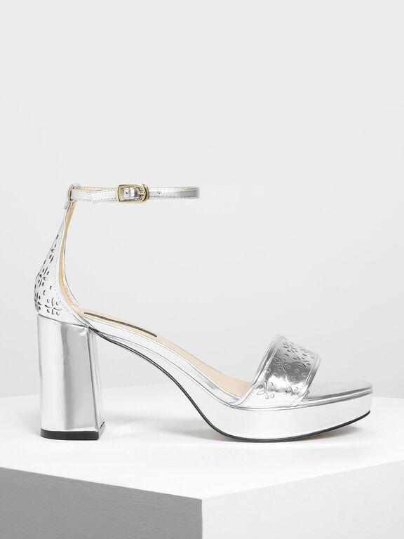 Motif Chunky Platform Heels, Silver