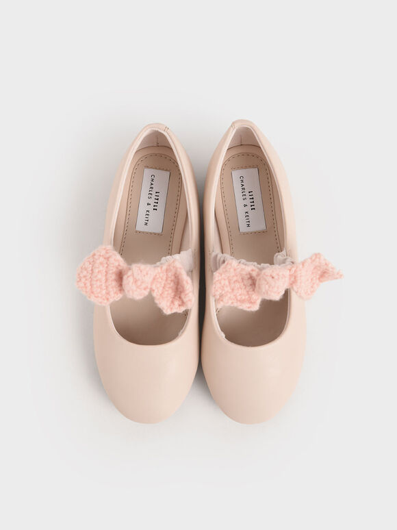 Girls' Crochet Bow Mary Jane Flats, Light Pink, hi-res