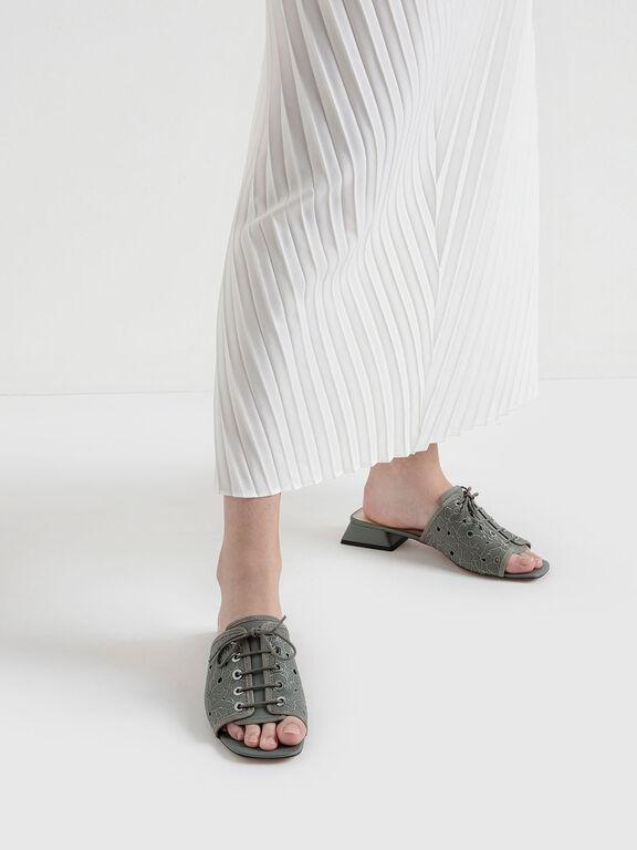 Embroidered Lace-Up Slide Sandals, Sage Green