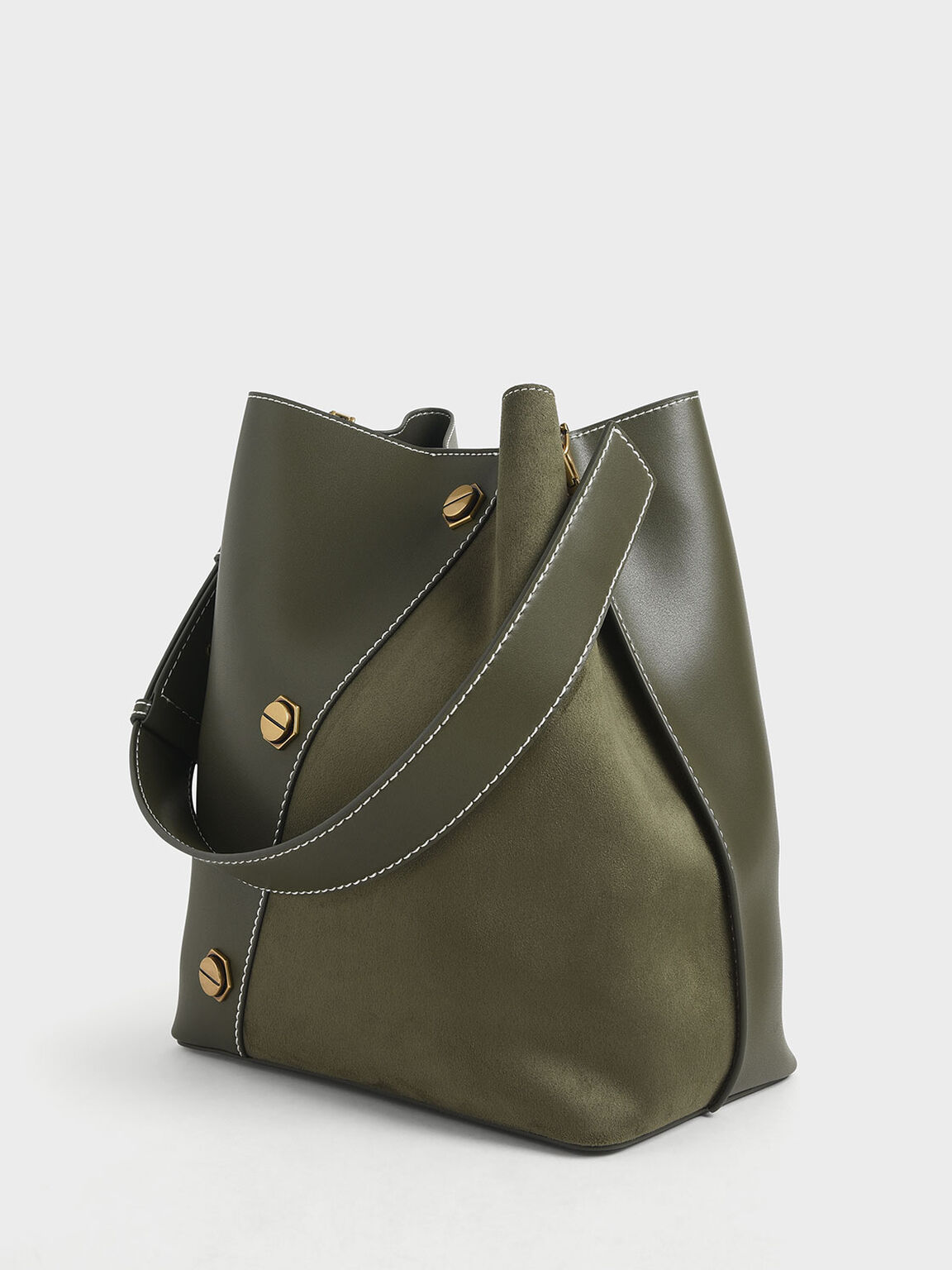 金屬鉚釘Hobo包, 橄欖色, hi-res