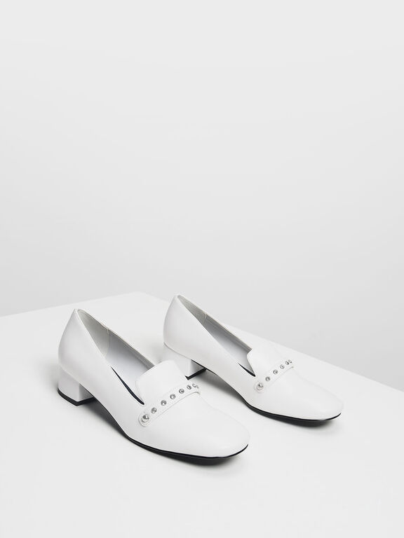 Embellished Loafers, White